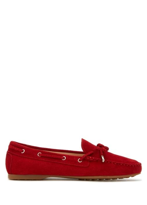Kırmızı Bağcık Detaylı Kadın Süet Loafer