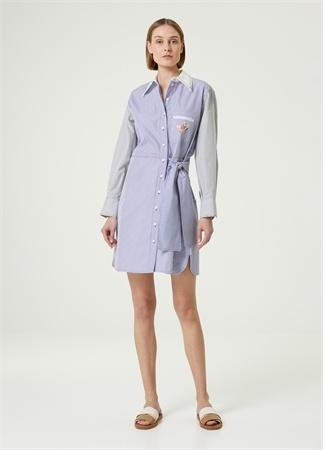 Chloe Kadın Mavi Beyaz Çizgili Mini Gömlek Elbise 38 FR