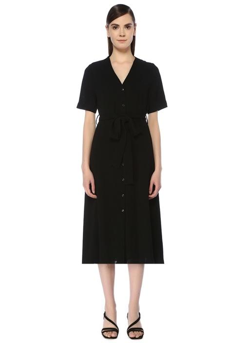 Siyah V Yaka Beli Kuşaklı Midi Elbise