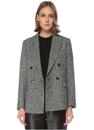 Beymen Collection Kadın Siyah Beyaz Kazayağı Desenli Kruvaze Ceket 42