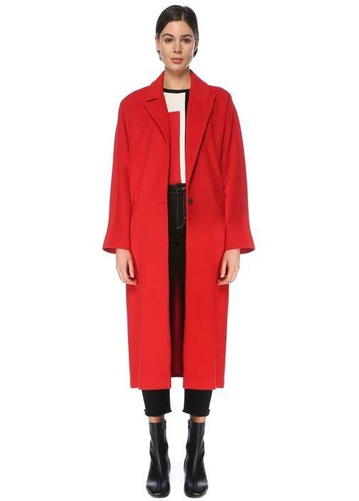 Kırmızı Tek Düğmeli Klasik Yün Palto
