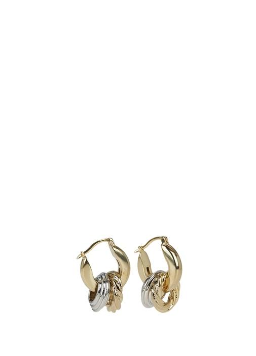 Gold Silver Halka Formlu Kadın Küpe