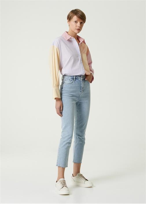 Straight Fit Paça Detaylı Jean Pantolon