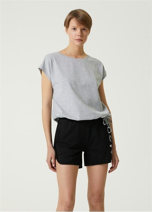 Gri Kayık Yaka Büzgü Detaylı T-shirt