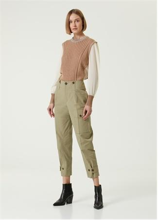 Chloe Kadın Açık Haki Crop Kanvas Kargo Pantolon Yeşil 34 FR