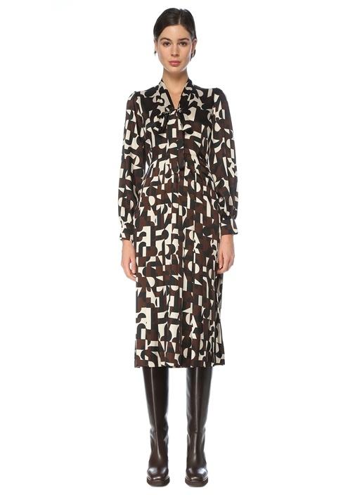 Kahverengi Fularlı Desenli Midi Krep Elbise