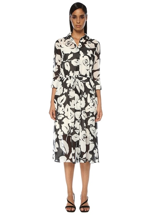 Siyah Beyaz Çiçekli Midi Gömlek Elbise