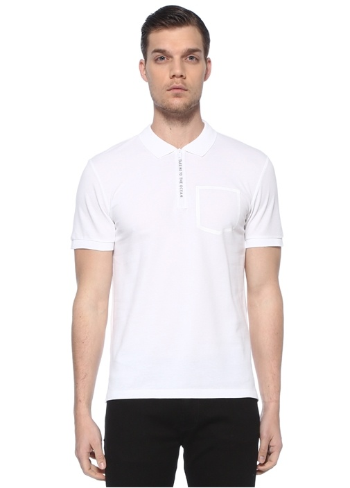 Slim Fit Beyaz Polo Yaka Slogan Detaylı T-shirt