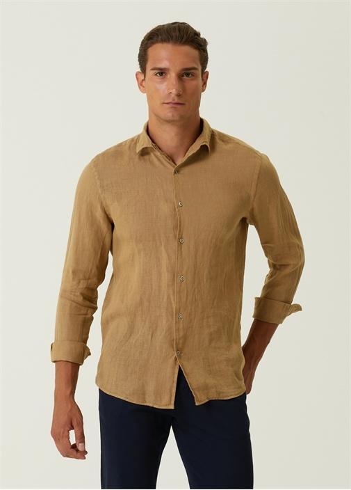 Slim Fit İtalyan Yaka Keten Gömlek