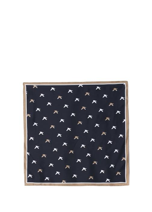 Siyah Kuş Desenli 70x70 cm Kadın İpek Eşarp