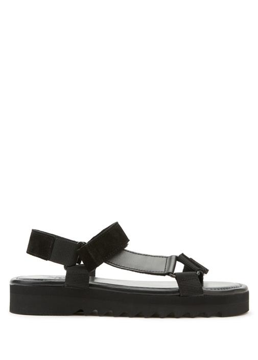 Siyah Grogren Detaylı Kadın Deri Sandalet