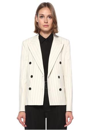 Polo Ralph Lauren Kadın Krem Çizgili Blazer Ceket Bej 4 US