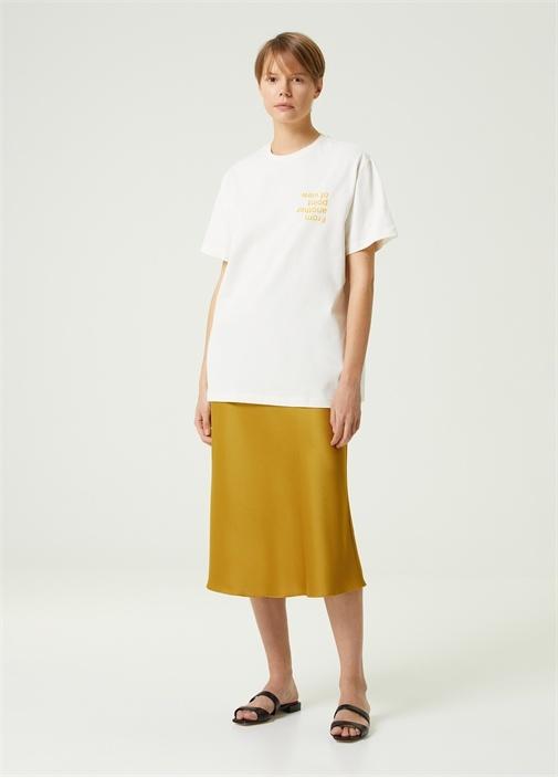 Beyaz Ters Slogan Baskılı Oversize T-shirt