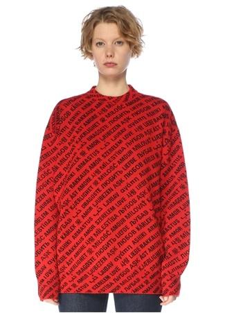 Balenciaga Kadın Kırmızı Siyah Jakarlı Oversized Yün Kazak S EU