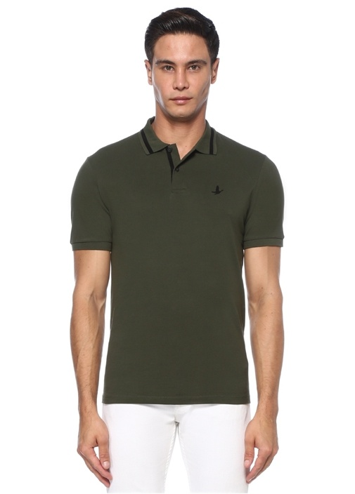 Slim Fit Haki Polo Yaka Süet Şerit Detaylı T-shirt