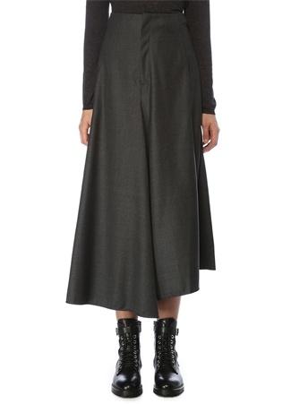 Brunello Cucinelli Kadın Antrasit Asimetrik Kesim Yün Pantolon Gri 38 IT