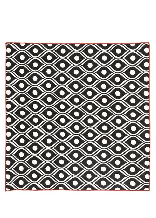 Siyah Geometrik Desenli 50x50 Kadın İpek Eşarp