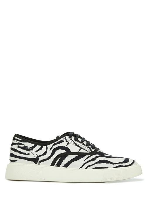 Siyah Beyaz Zebra Desenli Kadın Deri Sneaker