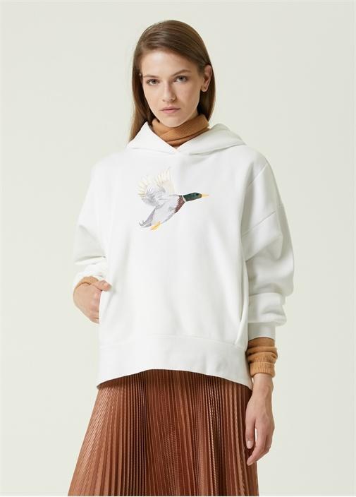 Oversize Beyaz Kapüşonlu Logolu Sweatshirt