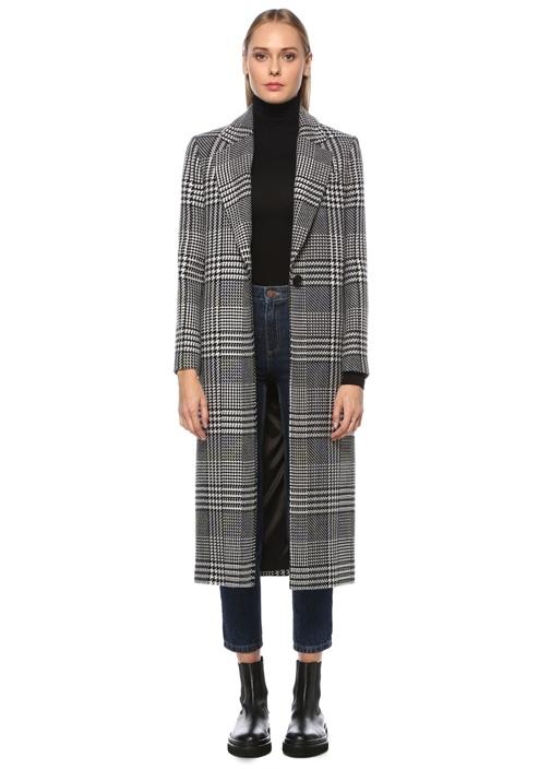 Siyah Ekoseli Kazayağı Desenli Uzun Yün Palto