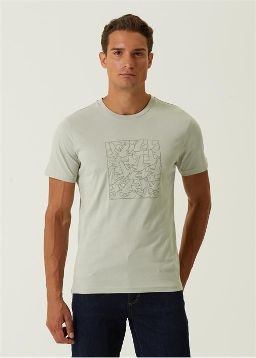 Yeşil Monogram Logo Nakışlı Basic T-shirt