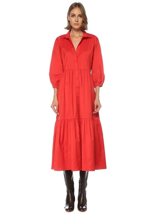 Kırmızı Büzgülü Balon Kol Midi Tafta Elbise