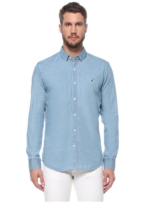 Slim Fit Mavi Açık Yaka Denim Gömlek