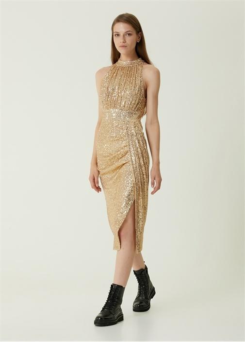 Gold İşlemeli Drapeli Midi Kokteyl Elbise