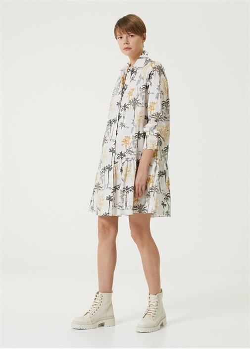 Çizgi Palmiye Desenli Organik Pamuk Gömlek Elbise