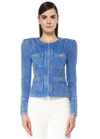 Balmain Kadın Bisiklet Yaka Vatkalı Jean Ceket Mavi 36 FR