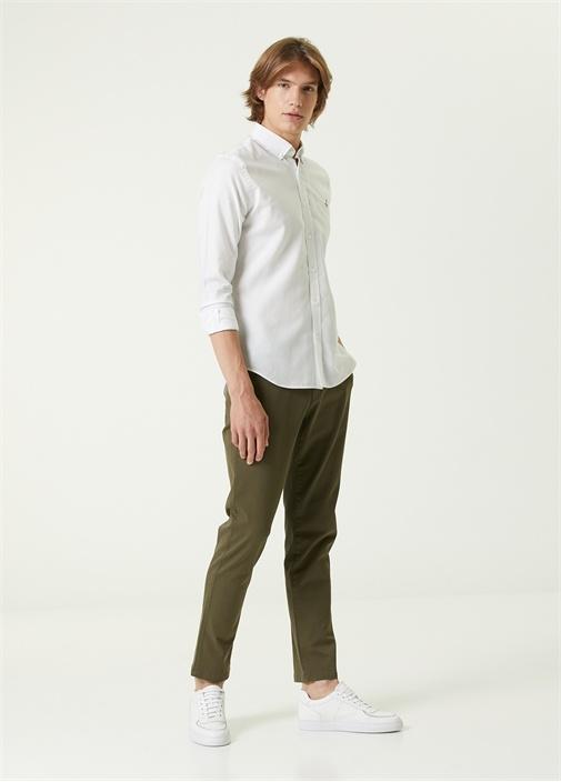 Slim Fit Haki Gabardin Chino Pantolon