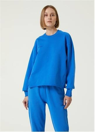 Academia Kadın Mavi Bisiklet Yaka Sweatshirt XS