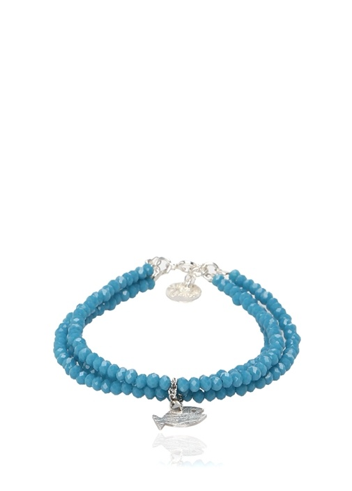 Mavi Kristal Boncuklu Kadın Gümüş Bileklik