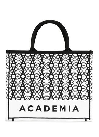 Academia Kadın Siyah Beyaz Logo Desenli Alışveriş Çantası EU
