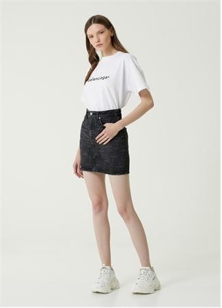 Balenciaga Kadın Siyah Logo Desenli Mini Jean Etek 36 IT