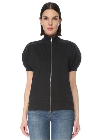Brunello Cucinelli Kadın Antrasit Kol Detaylı Sweatshirt Gri S EU