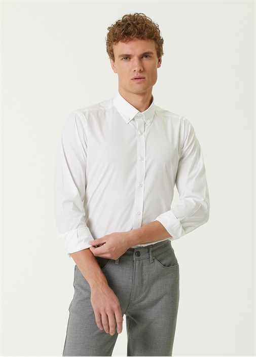 Slim Fit Beyaz Poplin Gömlek