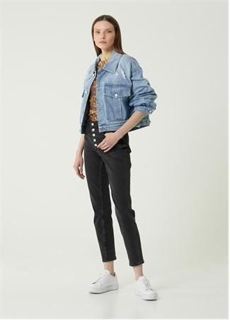 Givenchy Kadın Yıpratma Detaylı Jean Ceket Mavi L EU