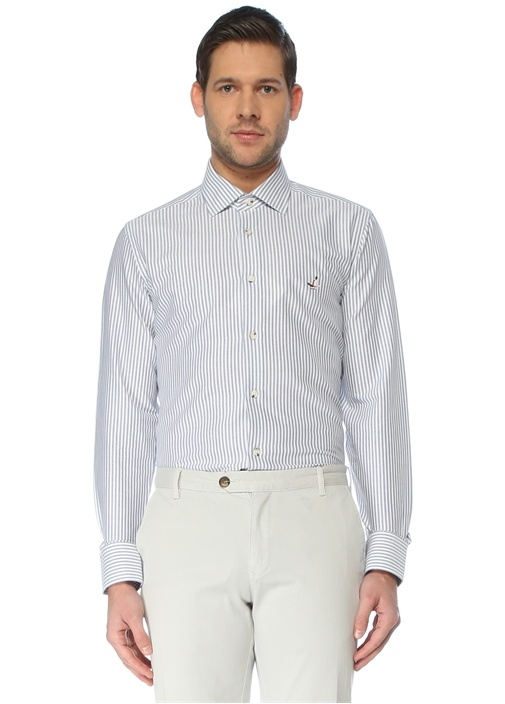 Slim Fit Mavi İngiliz Yaka Çizgili Gömlek
