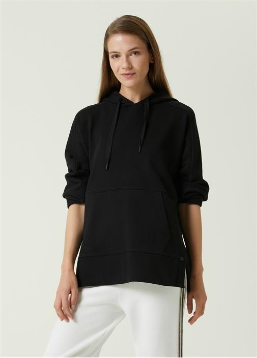 Siyah Kapüşonlu Yanı Çıtçıtlı Sweatshirt