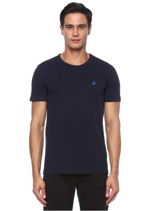 Lacivert Logo Nakışlı Basic T-shirt