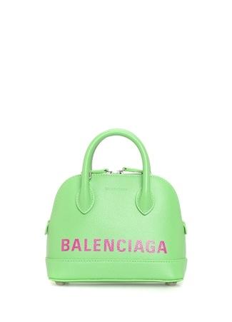 Balenciaga Kadın Villie Yeşil Logo Baskılı Deri Omuz Çantası EU