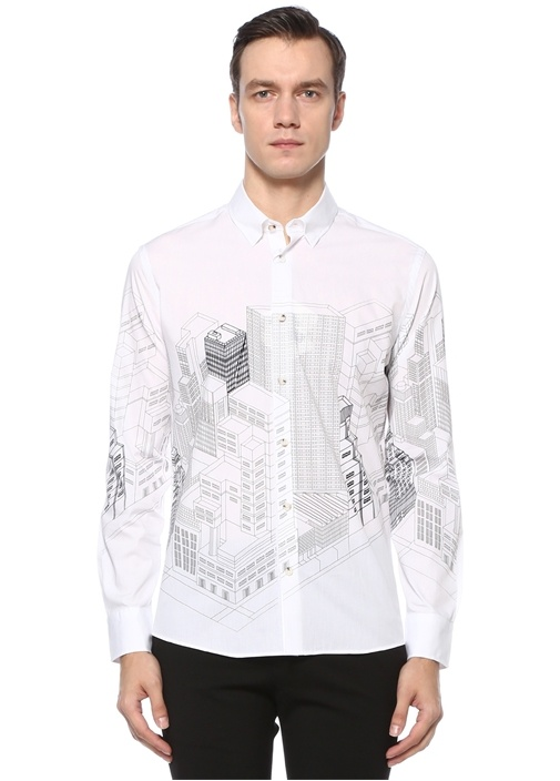 Slim Fit Beyaz Polo Yaka Şehir Baskılı Gömlek