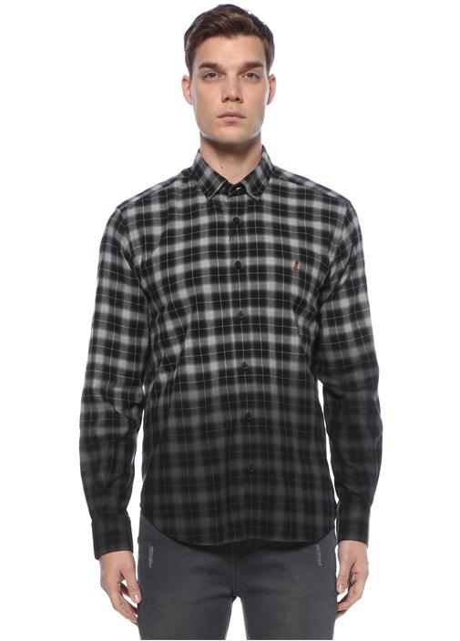 Comfort Fit Siyah Ekose Desenli Oxford Gömlek