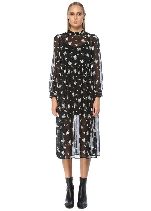 Siyah Dik Yaka Gül Desenli Midi Şifon Elbise