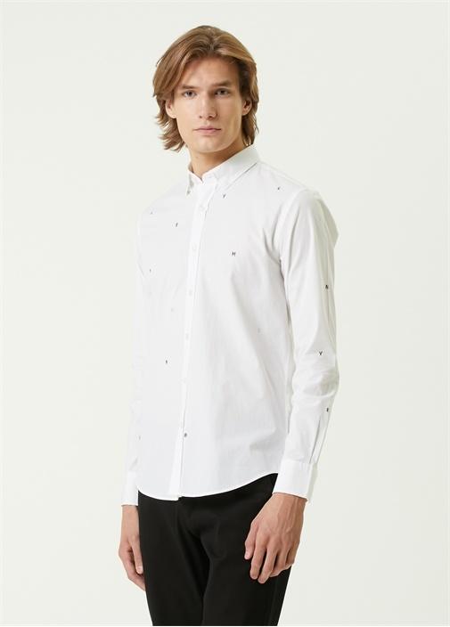 Slim Fit Beyaz Harf Nakışlı Poplin Gömlek