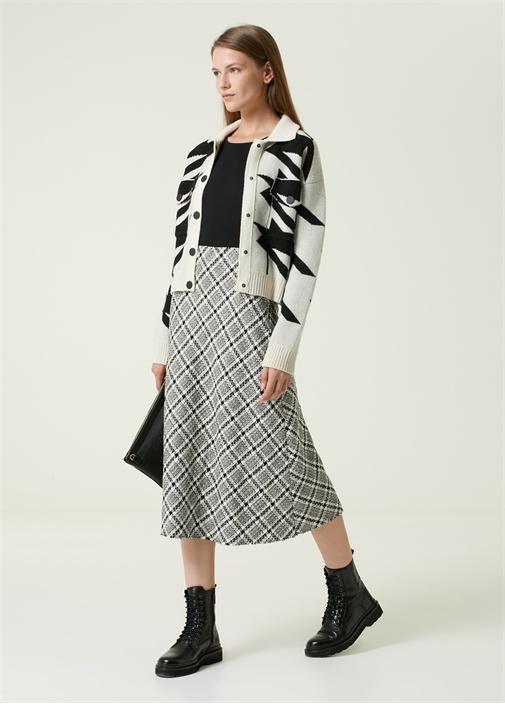 Siyah Ekoseli Midi Tweed Etek