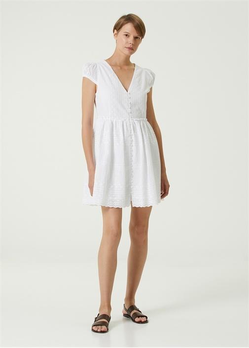 Beyaz V Yaka Nakışlı Mini Elbise