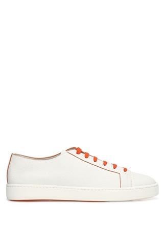 Santoni Sport Erkek Beyaz Turuncu Deri Sneaker 6 UK male