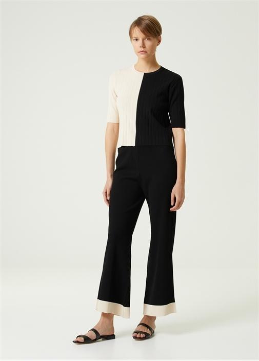 Siyah Ribli Paçası Şeritli Triko Pantolon